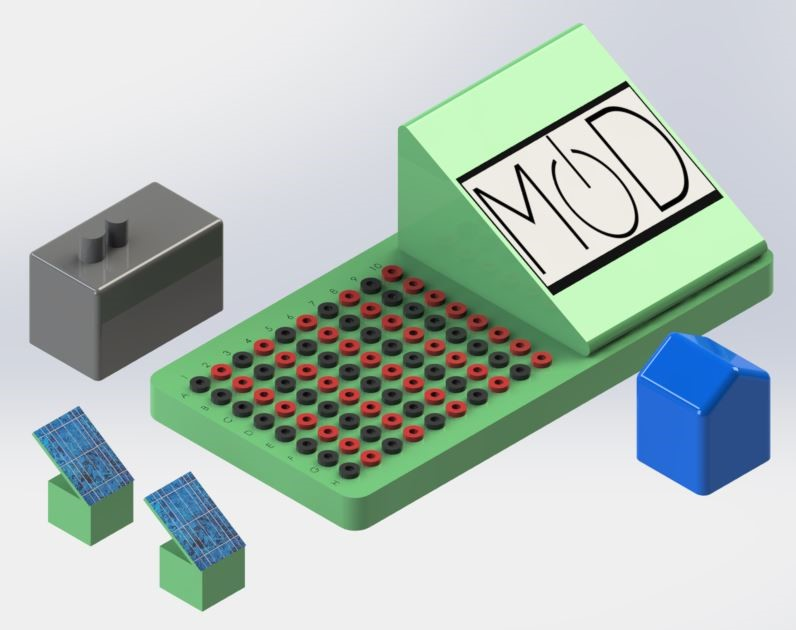A digital render of the Microgrid on a Desk prototype.