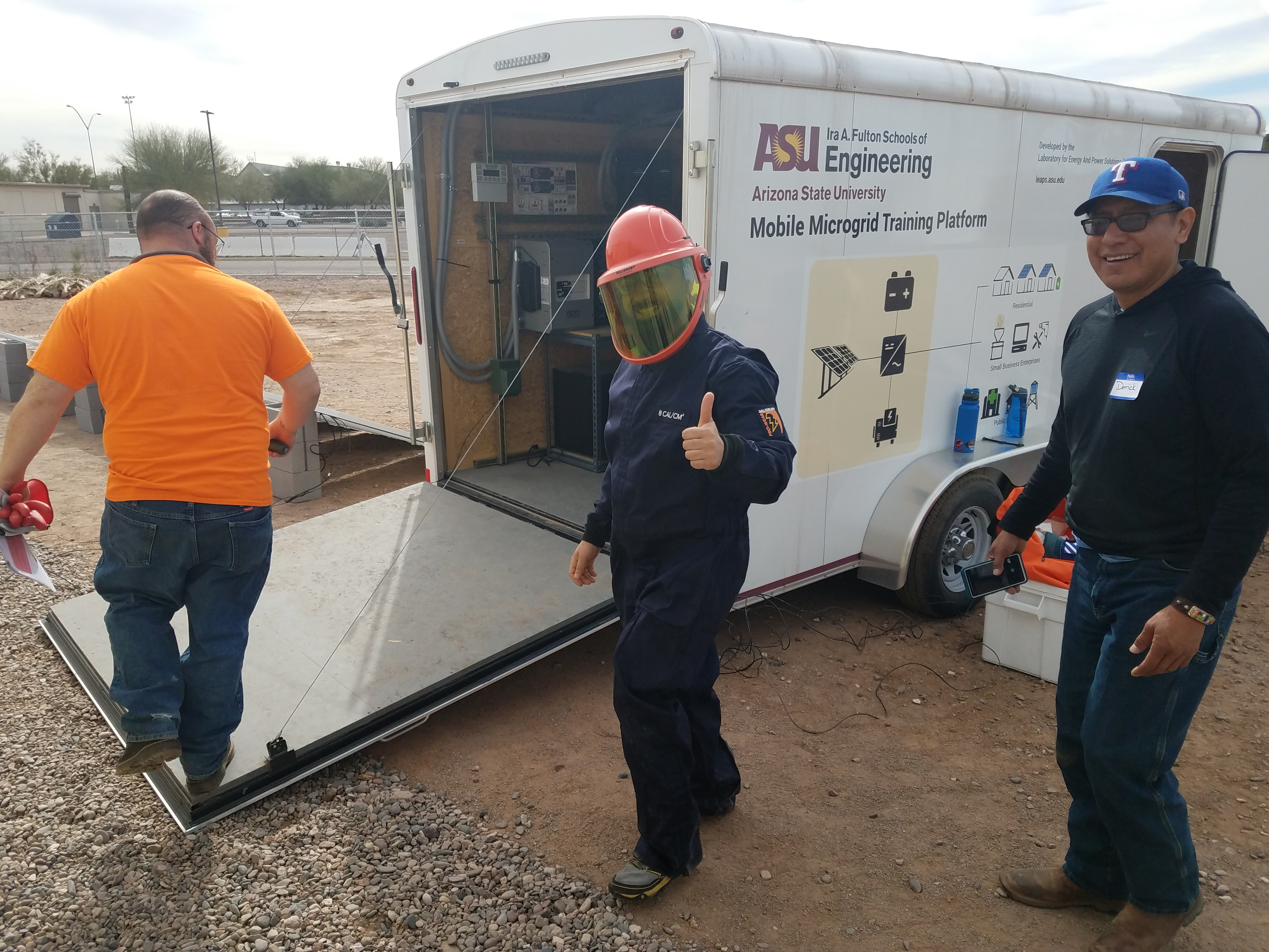 Image of microgrid bootcamp attendee in protective gear.