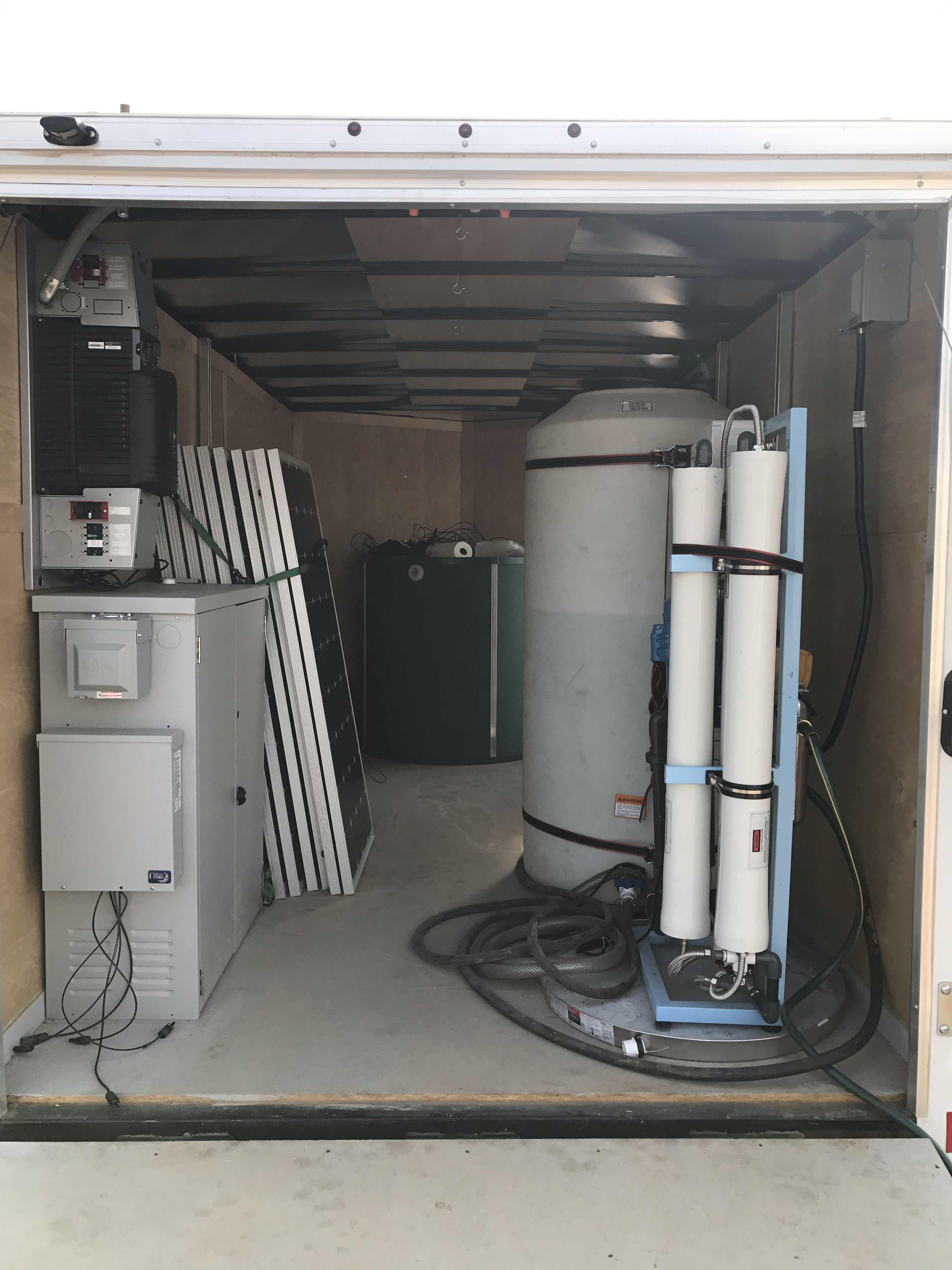 Image of the inside of a containerized microgrid.